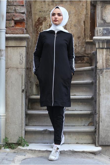 Çizgili Eşofman Takım - Siyah