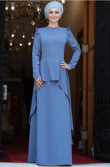 Ahunisa -  Portatif Pelerinli Abiye - Mavi