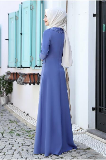 Ayliz Tesettür Elbise - Bebe Mavisi