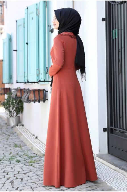 Ayliz Tesettür Elbise - Kiremit