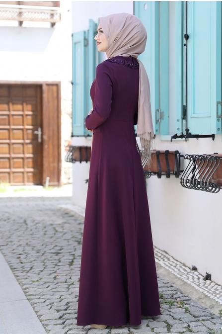 Ayliz Tesettür Elbise - Mürdüm