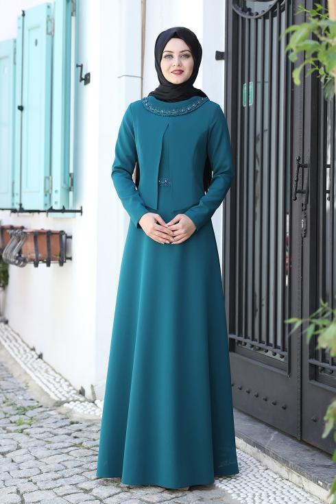 Ayliz Tesettür Elbise - Petrol