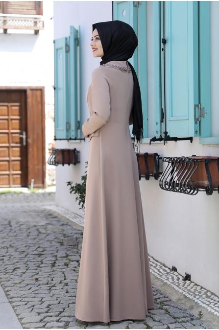 Ayliz Tesettür Elbise - Vizon
