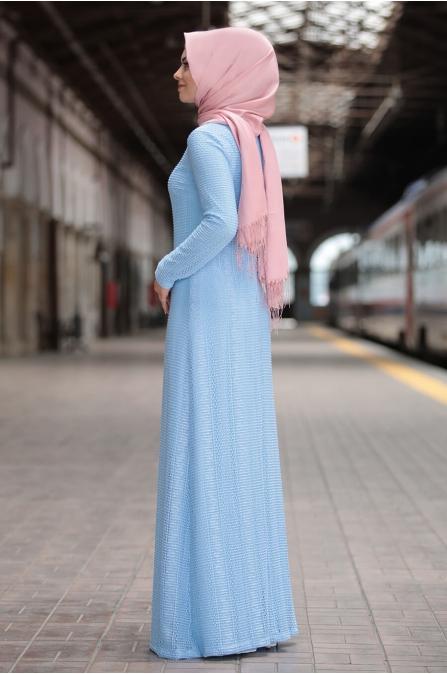 Aysema Elbise - Mavi - Ahunisa