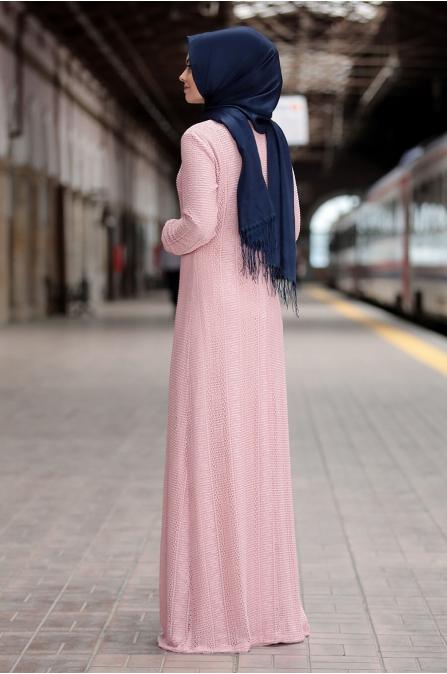 Aysema Elbise - Pudra - Ahunisa