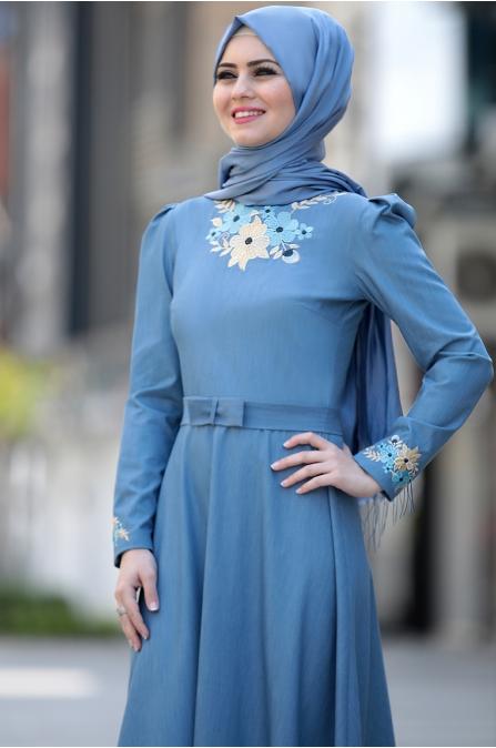 Ahunisa -  Kübra Nakışlı Elbise - Açık Mavi