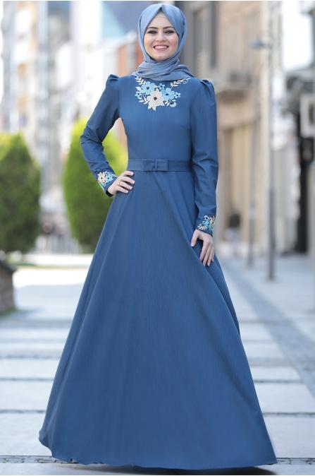 Ahunisa -  Kübra Nakışlı Elbise - Koyu Mavi