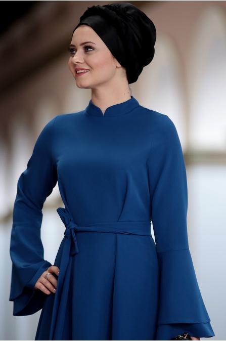 Ahunisa - Volanlı Elbise - İndigo
