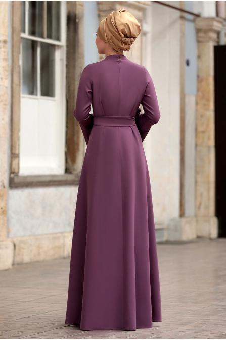 Ahunisa - Volanlı Elbise - Lila