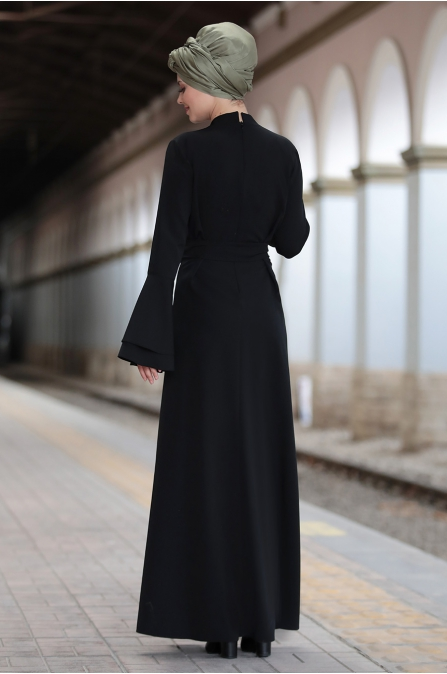 Ahunisa - Volanlı Elbise - Siyah