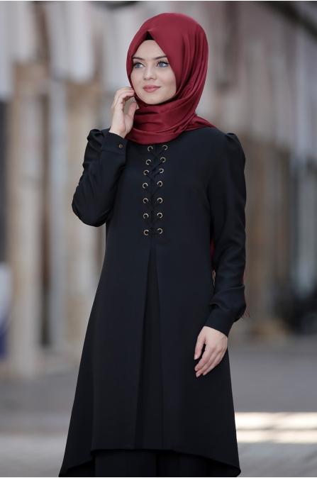 Mina Tunik Pantolon Tesettür Kombin - Siyah