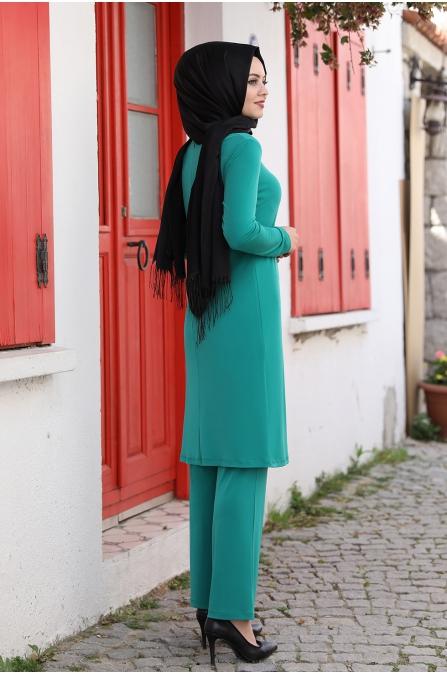Seren Tesettür Takım - Yeşil