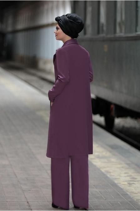 Büşra Kap Pantolon Takım - Lila - Ahunisa