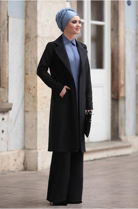 Büşra Kap Pantolon Takım - Siyah - Ahunisa
