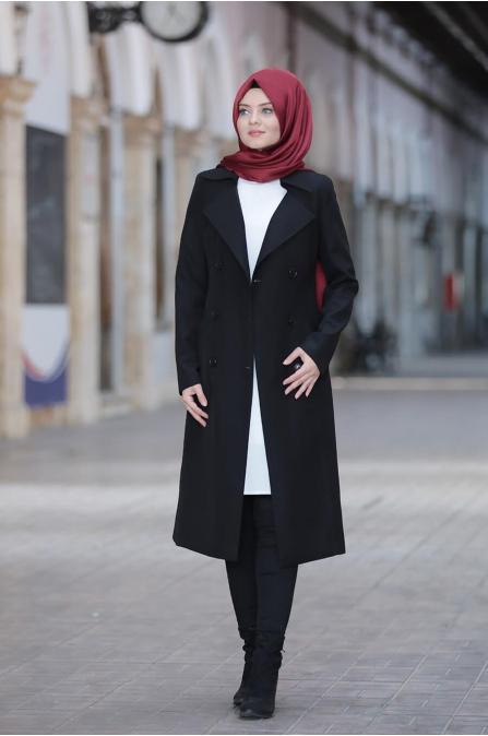 Hira TrençKot - Siyah - Ahunisa
