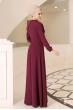 Ahsen Tesettür Elbise - Bordo - Al Marah