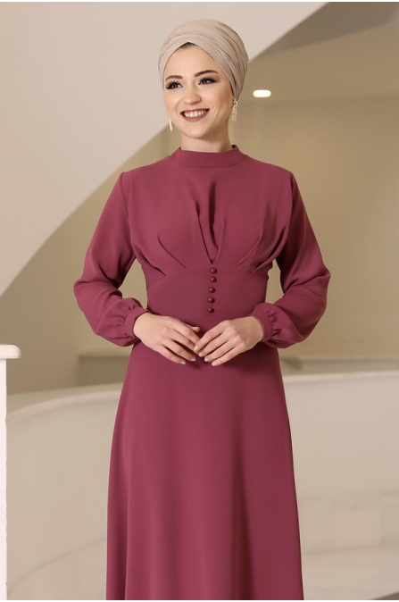 Ahsen Tesettür Elbise - Gül Kurusu - Al Marah