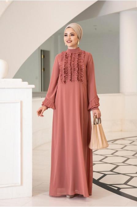 Başak Elbise - Şeftali - Al Marah