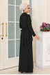 Ceyda Taş Kemerli Tesettür Elbise - Siyah