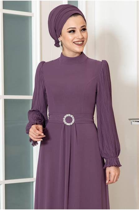 Defne Tesettür Elbise - Leylak