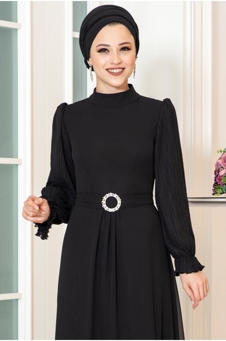 Defne Tesettür Elbise - Siyah