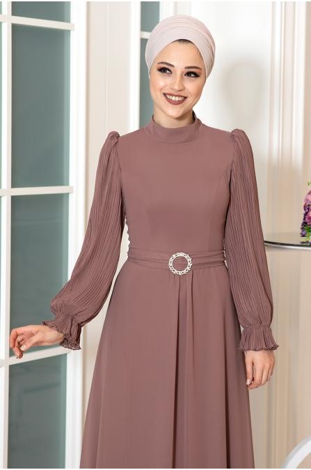 Defne Tesettür Elbise - Vizon