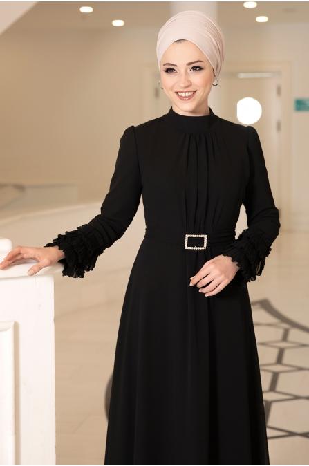 Lina Elbise Taş Kemerli - Siyah