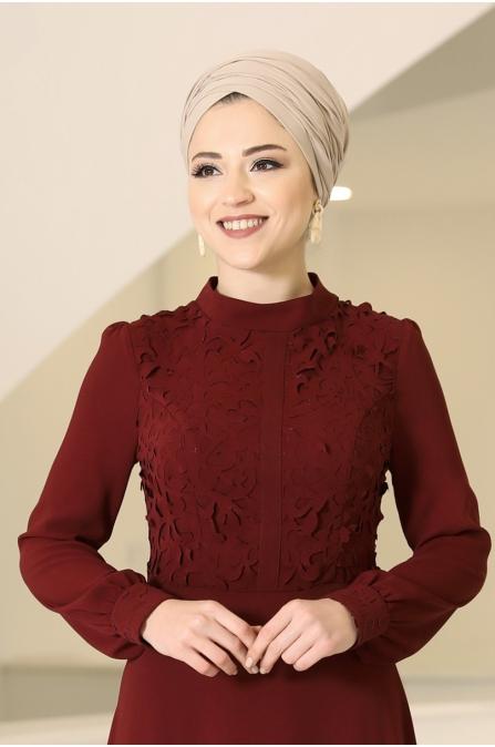 Mira Tesettür Elbise - Bordo