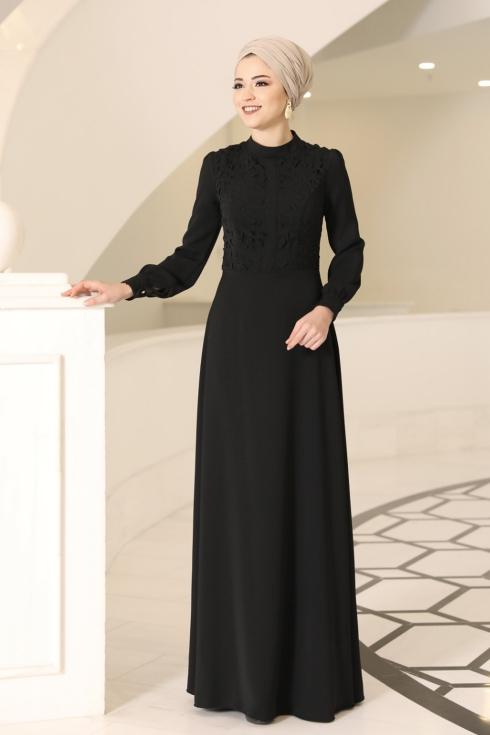Mira Tesettür Elbise - Siyah