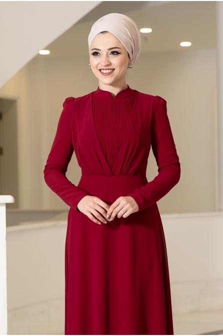 Özüm Tesettür Elbise - Kırmızı