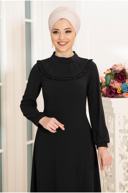 Selin Tesettür Elbise - Siyah