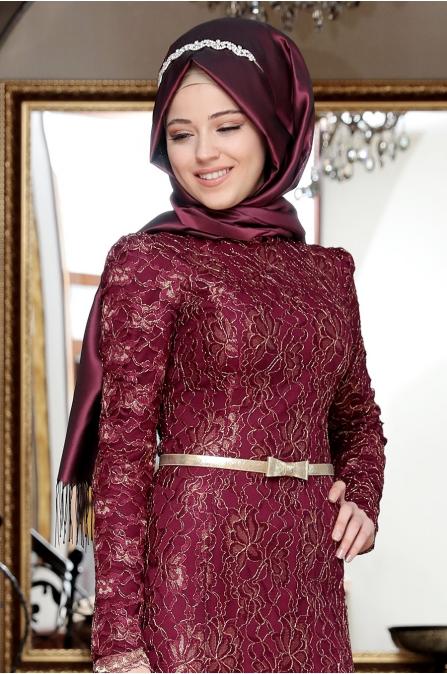 Al-Marah - Öykü Dantelli Abiye - Mürdüm