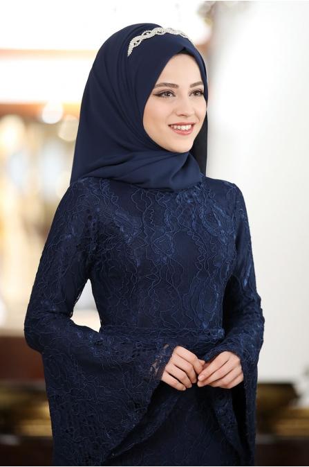 Melek Dantel Abiye - Lacivert - Al Marah