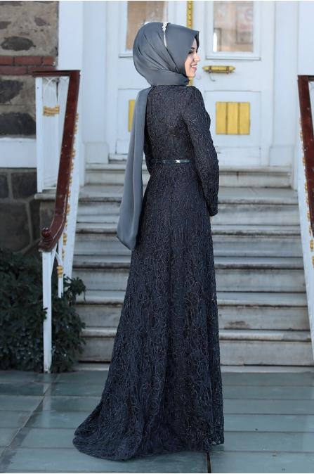Milen Tesettür Abiye - Antrasit - Al Marah