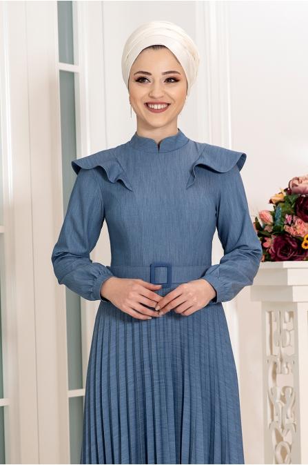 Serra Kot Elbise - Mavi