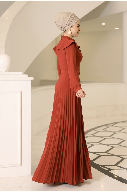 Serra Tesettür Elbise - Kiremit