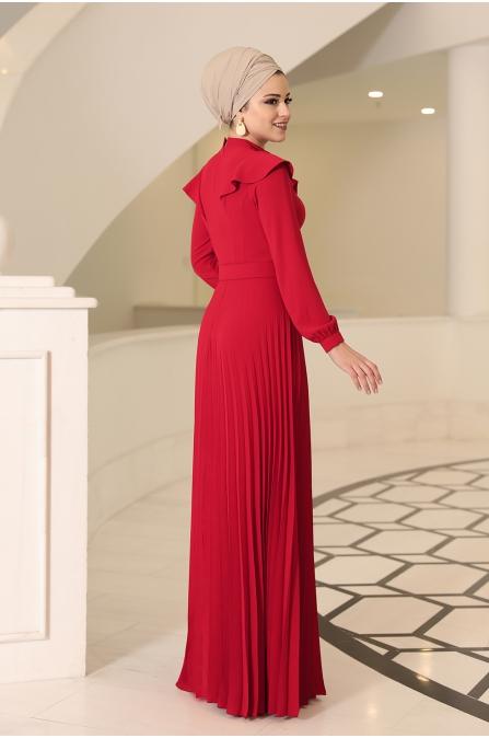 Serra Tesettür Elbise - Kırmızı