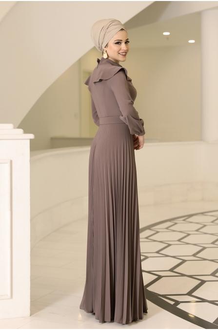 Serra Tesettür Elbise - Vizon