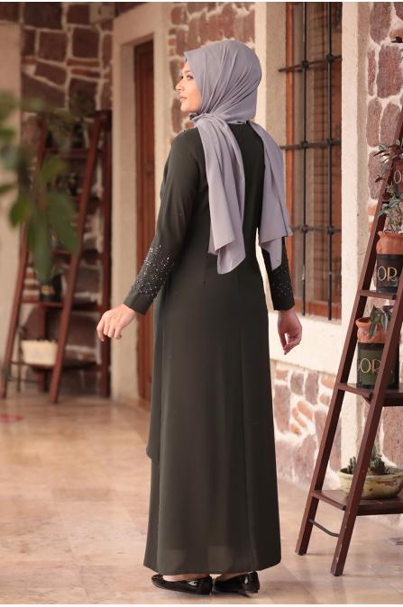 Bahar Tesettür Abiye Elbise - Haki - Amine Hüma