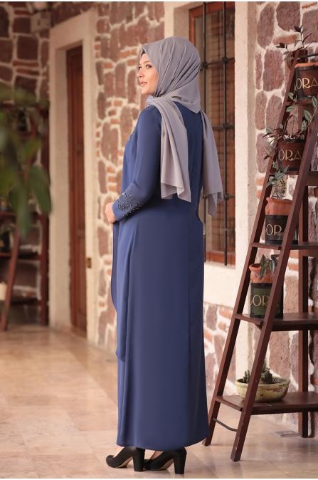 Bahar Tesettür Abiye Elbise - İndigo - Amine Hüma