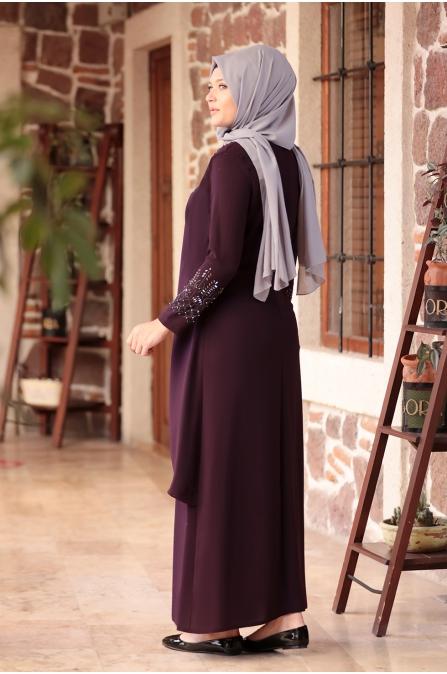 Bahar Tesettür Abiye Elbise - Mor - Amine Hüma