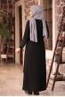 Bahar Tesettür Abiye Elbise - Siyah - Amine Hüma