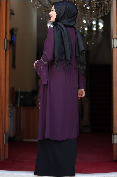 Eslem Abiye Elbise Mor Siyah