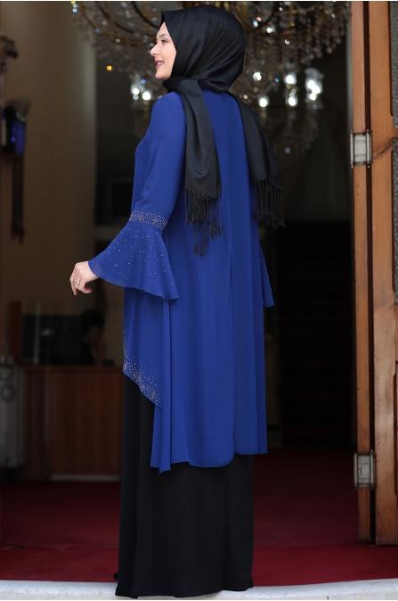 Eslem Abiye Elbise Saks Siyah