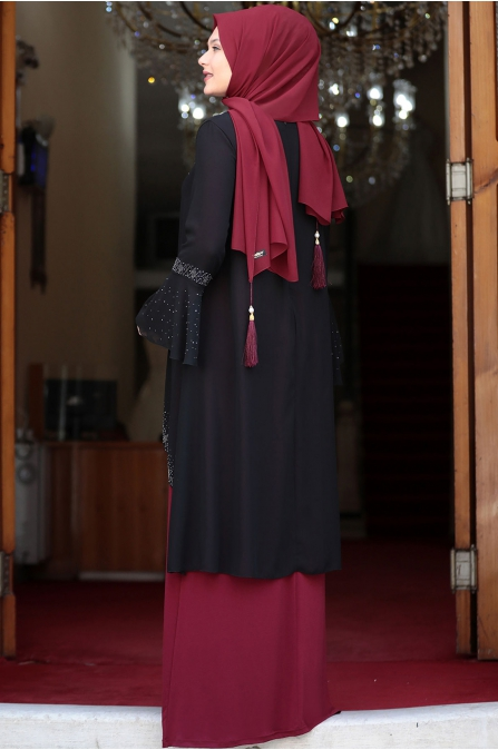 Eslem Abiye Elbise Siyah Bordo