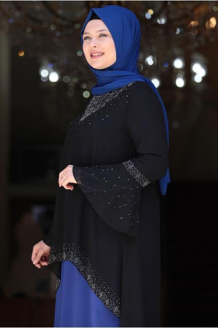 Eslem Abiye Elbise Siyah Saks