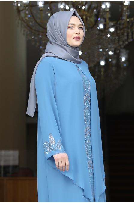 Fulya Şifon Tesettür Abiye - Bebe Mavisi