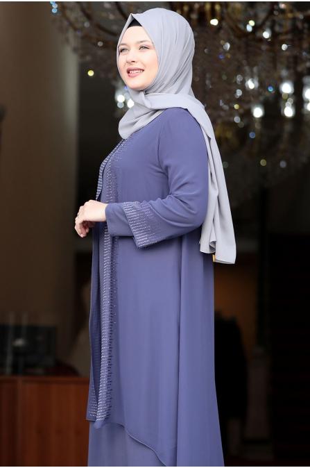 Gül Tesettür Abiye Elbise - İspirto - Amine Hüma