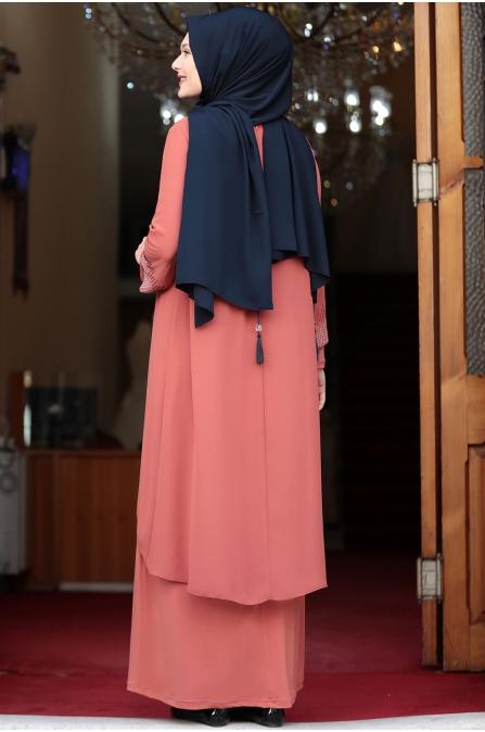 Gül Tesettür Abiye Elbise - Kiremit - Amine Hüma