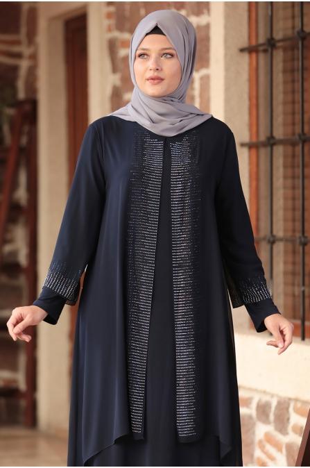Gül Tesettür Abiye Elbise - Lacivert - Amine Hüma